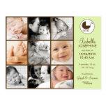 Invitación del nacimiento del bebé de la verde lim postales
