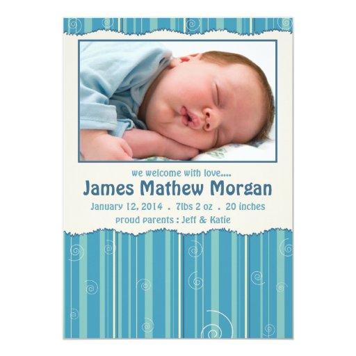 Invitación del nacimiento del bebé de las rayas y