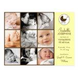Invitación del nacimiento del bebé del amarillo de tarjetas postales