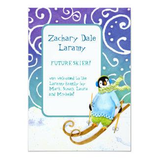 Invitación del nacimiento del bebé del pingüino