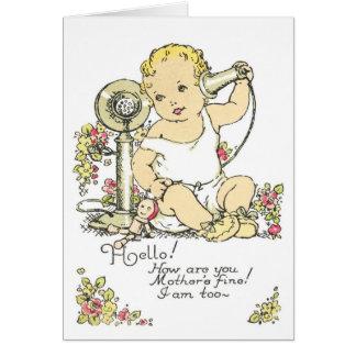 Invitación del nacimiento del bebé del vintage tarjeton