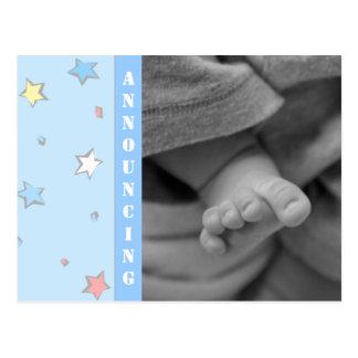 Invitación del nacimiento del bebé postal