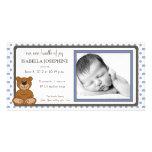 Invitación del nacimiento del bígaro del oso de pe tarjeta fotográfica personalizada