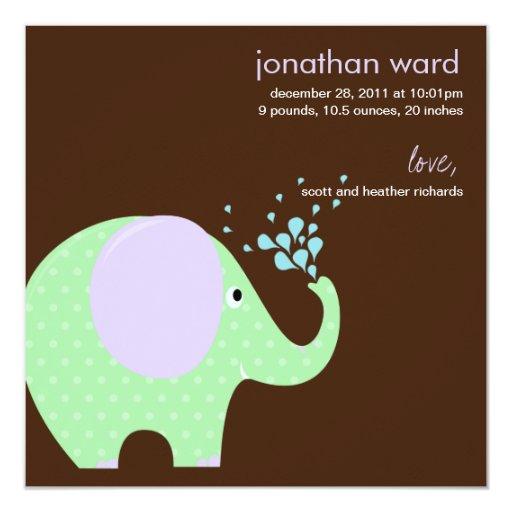 Invitación del nacimiento del elefante del bebé