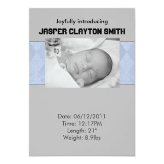 Invitación del nacimiento del gris azul