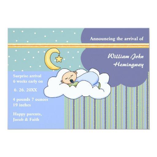 Invitación del nacimiento del muchacho del sueño