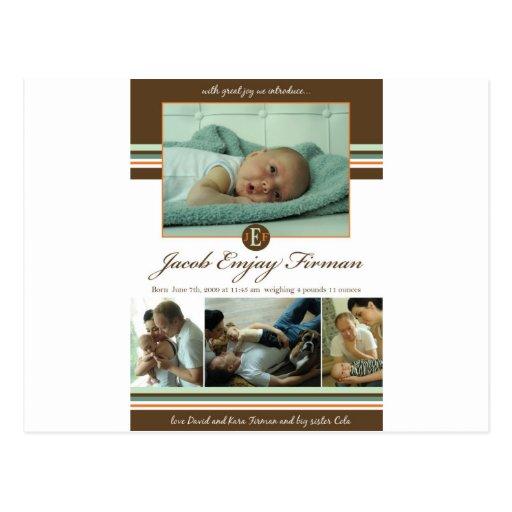 Invitación del nacimiento del muchacho tarjetas postales
