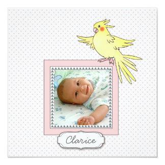 Invitación del nacimiento del pájaro de la foto de