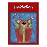 Invitación del navidad con el oso de peluche