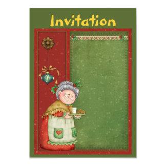 Invitación del navidad con señora Santa