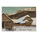 Invitación del navidad de la cabina de la nieve invitación 12,7 x 17,8 cm