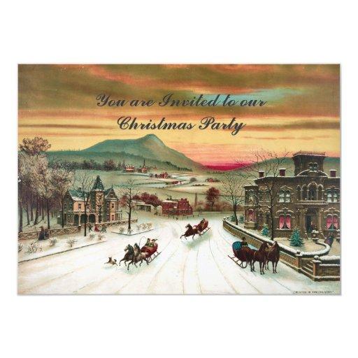 Invitación del navidad de la escena del país del