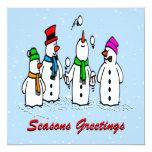 Invitación del navidad de los muñecos de nieve que invitación 13,3 cm x 13,3cm