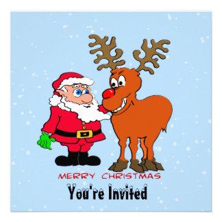 Invitación del navidad de Santa y de Rudolph