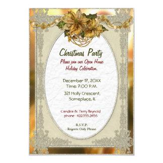 Invitación del navidad del oro del Poinsettia