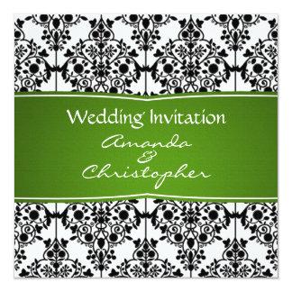 Invitación del negro del damasco, blanca y verde