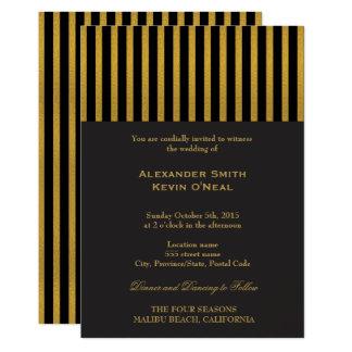 Invitación del oro del boda de dos Novio-Gays