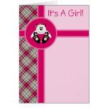 Invitación del oso de panda del ángel de la niña d tarjetas