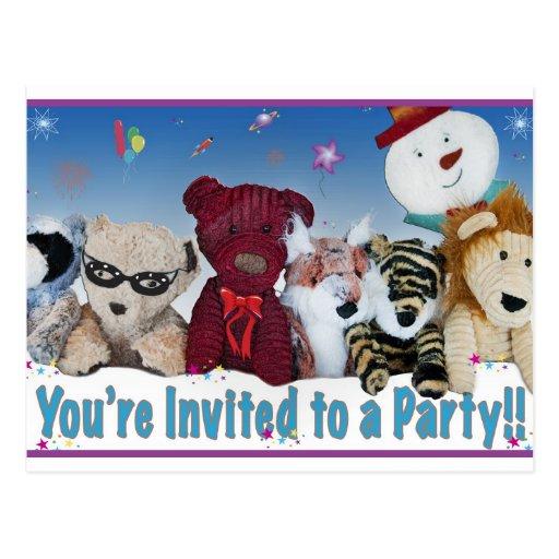 Invitación del oso del fiesta postales