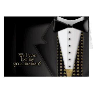 Invitación del padrino de boda del smoking tarjeton