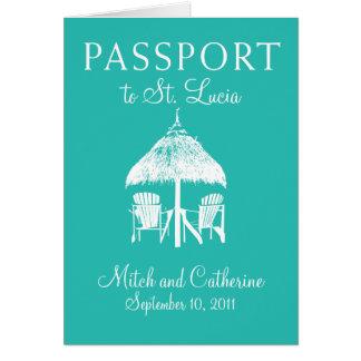 Invitación del pasaporte del boda de St Lucia Felicitación