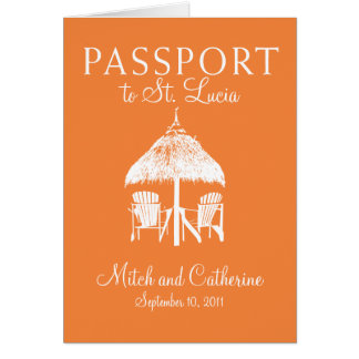 Invitación del pasaporte del boda de St Lucia Tarjeton