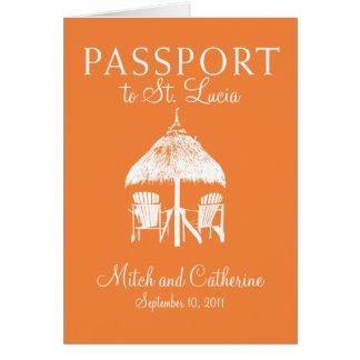 Invitación del pasaporte del boda de St Lucia Tarjetas