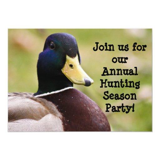 Invitación del pato de la temporada de caza