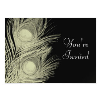 Invitación del pavo real - blanco y negro