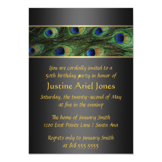 Invitación del pavo real del cumpleaños