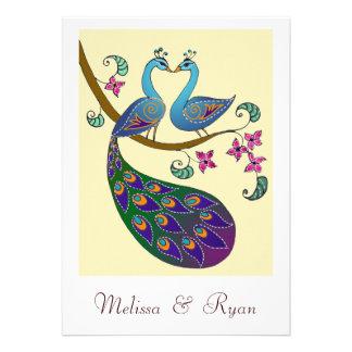 Invitación del pavo real y del boda de Peahen (kan