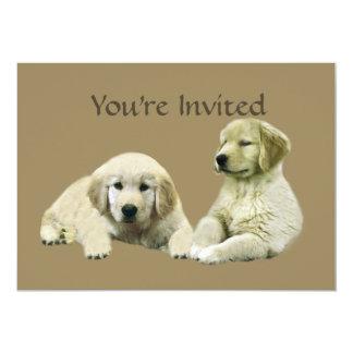 Invitación del perrito del golden retriever