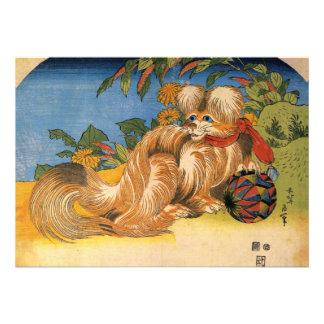Invitación del perro casero de Hokusai Tschin