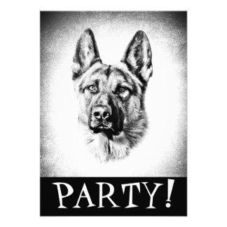 Invitación del perro de pastor alemán
