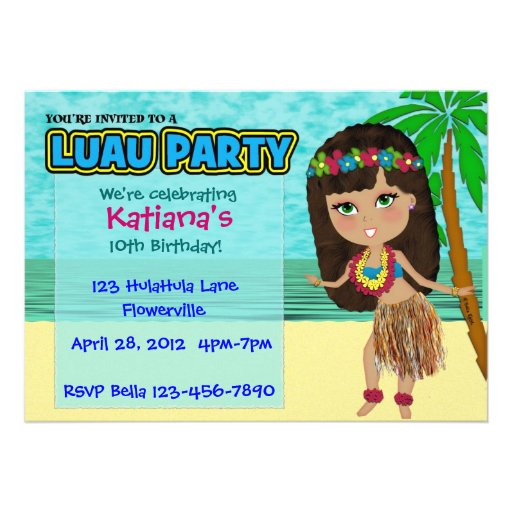 Invitación del personalizado del fiesta de Luau
