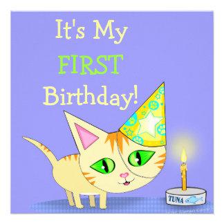 Invitación del personalizado del gato de la torta