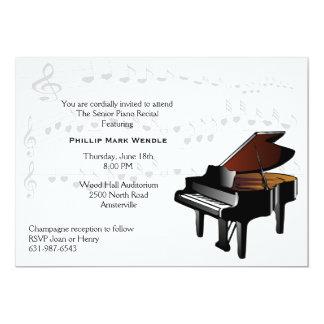 Invitación del piano de piano de media cola