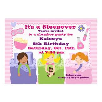 Invitación del pijama del Sleepover de la fiesta d