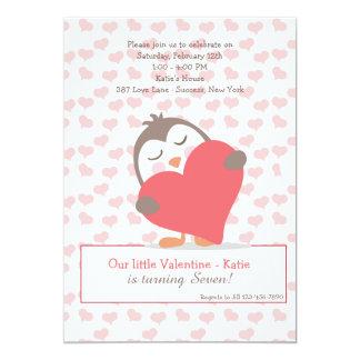 Invitación del pingüino de la tarjeta del día de invitación 12,7 x 17,8 cm