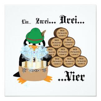 Invitación del pingüino de Oktoberfest Invitación 13,3 Cm X 13,3cm