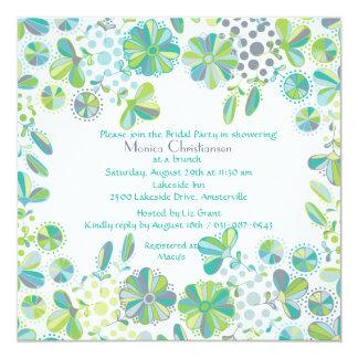 Invitación del relevo del verde azul invitación 13,3 cm x 13,3cm