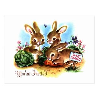 Invitación del remiendo del conejito postal