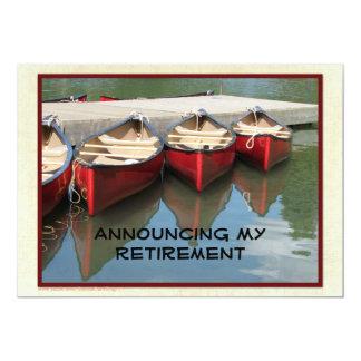 Invitación del retiro, tres canoas rojas invitación 12,7 x 17,8 cm
