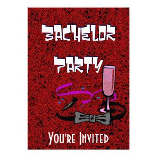 Invitación del rojo del fiesta de macho del solter