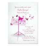 Invitación del rosa del soporte de música