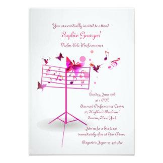Invitación del rosa del soporte de música invitación 12,7 x 17,8 cm