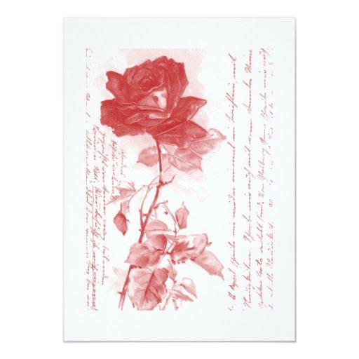 Invitación del rosa rojo