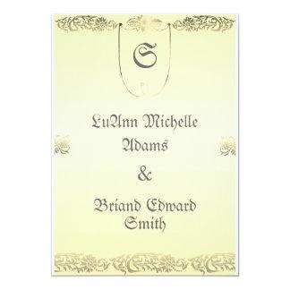 Invitación del sello del boda en crema y gris