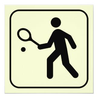 Invitación del símbolo del tenis invitación 13,3 cm x 13,3cm