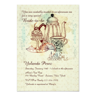 Invitación del té y de los postres invitación 12,7 x 17,8 cm